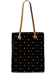 Snoogg Orange Stars Black Pattern Womens Digitally Printed Utility Tote Bag Handbag Made Of Poly Canvas With Leather...