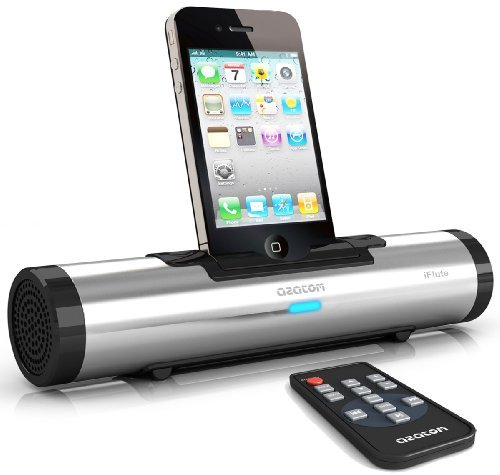 AZATOM® iFLUTE Silver 10W iPhone Docking Station - True stereo dual speakers - Remote control - Premiun portable sound