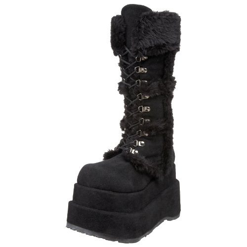 Demonia By Pleaser Women'S Bear-202 Boot,Black Polyurethane,12 M Us