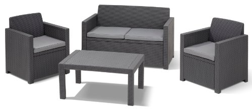 allibert 206715 lounge set merano set rattanoptik kunststoff anthrazit g nstig gartenm bel set. Black Bedroom Furniture Sets. Home Design Ideas