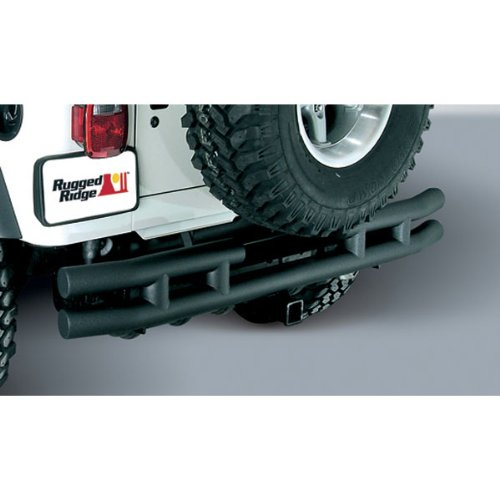 Rugged Ridge 11571.04 Textured Black Rear Bumper With Hitch For 1987-06 Jeep Wrangler