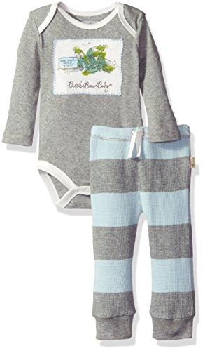 Burt's Bees Baby Boys' Organic Bodysuit + Thermal Pant Set, Sky, 24 Months