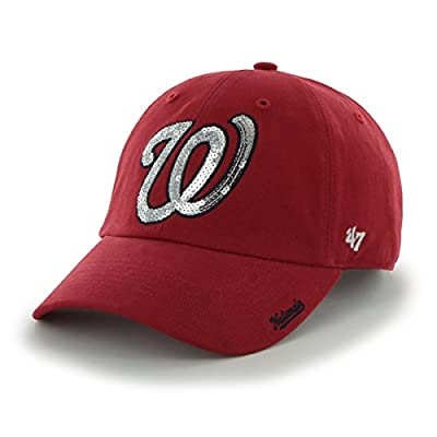 MLB Washington Nationals Womens Sparkle Team color '47 Clean Up Adjustable Hat, Red, Women's,Red