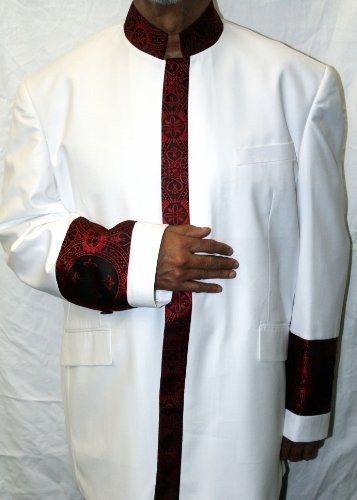 Two Piece White Clergy Suit with Vibrant Red Embroidery