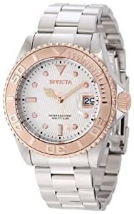 Invicta 12837 Men's Pro Diver Rose Gold Tone Bezel White Dial Automatic Dive Watch