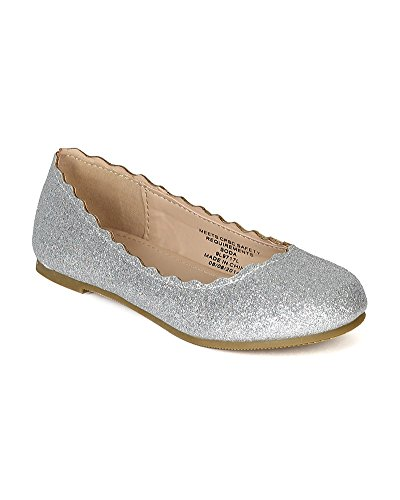 Soda Bf57 Glitter Leatherette Round Toe Wave Cuff Ballerina Flat (Toddler/ Little Girl/ Big Girl) - Silver (Size: Toddler 9) front-148202