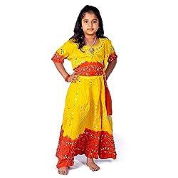 Indiangiftemporium Rajasthani Beautiful Red Yellow Lehenga Choli Set 119B-32