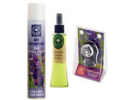 2in1 English Lavender Air Freshener 300 ml And Lemon Grass Natural Spray 75 ml With English Lavender Pure Car Perfume 10 ml