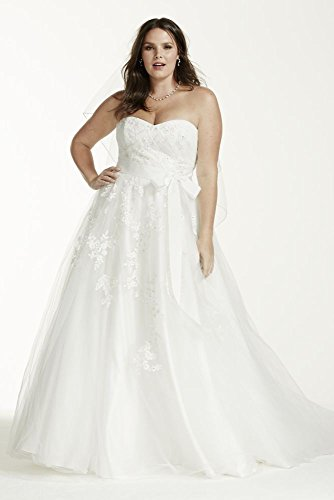 Strapless Tulle Plus Size Wedding Dress With Beads Style 9mk3666