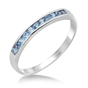 Miore Eternity Ring, 9ct White Gold, Blue Topaz and Blue Topaz Channel Set Eternity Ring, Size Q, MT024BTRR