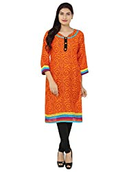 Adhaans Orange Printed Women's Kurti