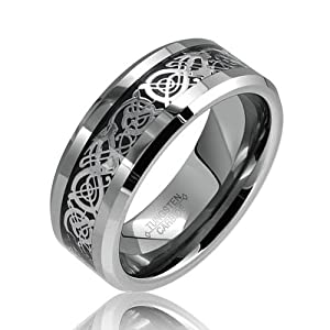 Bling Jewelry Celtic Dragon Comfort Fit Black Inlay Tungsten Mens Wedding Ring