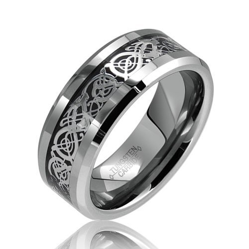Bling Jewelry Celtic Dragon Comfort Fit Black Inlay Tungsten Carbide Mens Wedding Ring-9