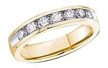 buy 0.5 Cttw 14K Yellow Gold Wedding Anniversary Diamond Ring Seven Stone Channel Set, 3.5Mm ((L0400) Womens Size 4)