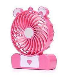 Generic Mini Bear Shaped Rechargeable Battery Desk USB Fan Pink