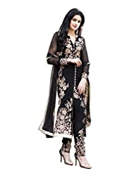 Paheli Heavy Embroidery Black Georgette Straight Party Wear Dress Material