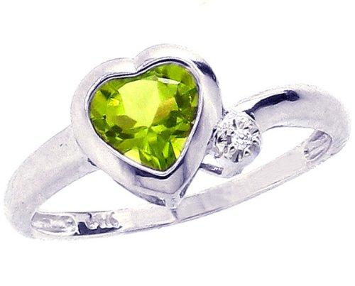14K White Gold Simply Heart Gemstone Ring-Peridot, size7.5