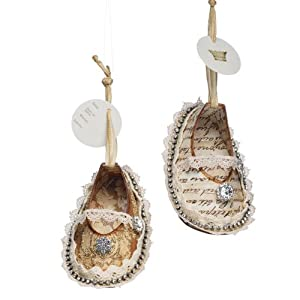 Demdaco Tiny Toes Baby Shoes Christmas Ornaments Set of 2