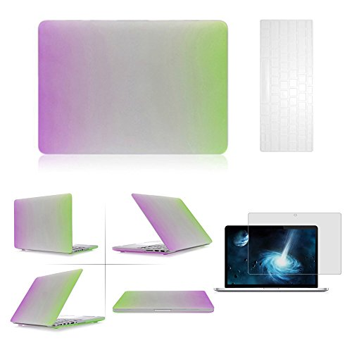 "Ayamaya Rubberized Multiple Colors Rainbow Purple And Green Gradient Ramp Hard Case Cover For Macbook Pro 15"" With Retina Display (A1398) + Transparent Tpu Keyboard Cover + Lcd Hd Clear Screen Protector"