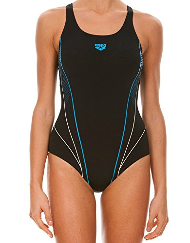 Arena W Wheelie Energy Back One Piece Costume da Bagno, Donna, Black/Turquoise/White, 44 IT