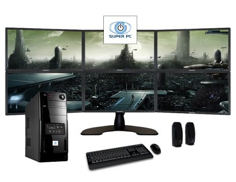 Super Pc | Six Monitor Computer And Six Led Display Array | Complete Intel Quad-Core I5 System Package!