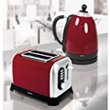 Sabichi Red Fast Quick Rapid Boil Kettle & 2 Slice Toaster Breakfast Set
