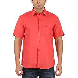Gm Men's Formal Shirt (GM6005_Red_40)