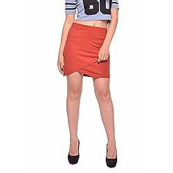 Vvoguish Corporate Wear Cotton Solids Brown Skirt-VVSK827RST-XL