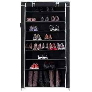 Songmics XXL 10 Schicht Schuhregal für ca. 45 Paar Schuhe Schuhschrank Schuhständer 88 x 28 x 160 cm Schwarz RXJ36H