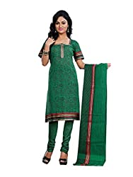 Touch Trends Green Embroidered Dress Material