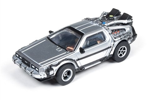 #SC274 Auto World Back to The Future Time Machine DeLorean, Silver 4 Gear Electric Slot Car