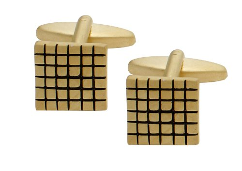 Code Red Gold Plated Matt Square Cufflinks with Black Enamel Check Design