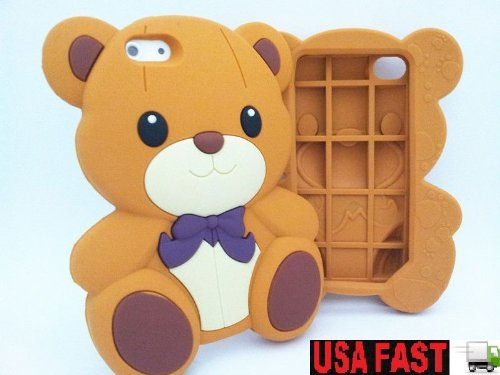 3D Brown Cute Teddy Bear Soft Silicone Case Cover