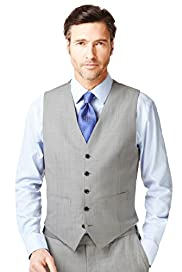 Regular Fit 5 Button Wool Blend Lightweight Waistcoat
