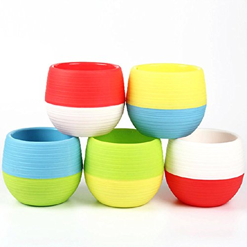 5 pc libero di Mix Piante in vaso vasi Lazy Storage Vaso da fiori in plastica, rotondo, Home Office Decor Vaso, Blue/Green/Red/White/Yellow, L