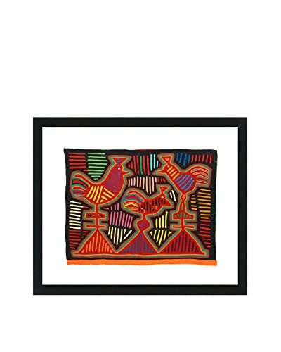 Uptown Down Vintage Framed Tribal Textile Art, Multi