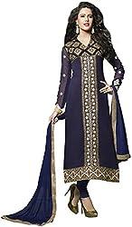 Shree Sai Exports Women's Georgette Unstitched Dress Material (Blue)