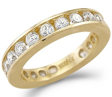 Size- 6 - Solid 14k Yellow Gold Eternity Channel Wedding CZ Cubic Zirconia Ring Band Size 5, 6, 7, or 8