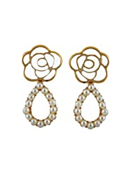 Youshine Metal Dangle & Drop Earings For Women - Golden,White(Earr10856)