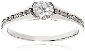 14k White Gold .25 ct Round Center Diamond Engagement Ring (1/2 cttw, H-I Color, I1-I2 Clarity), Size 6