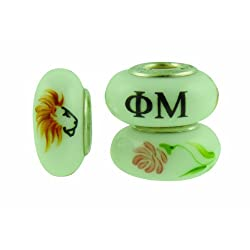 Phi Mu Sorority Hand Painted Fenton Glass Bead