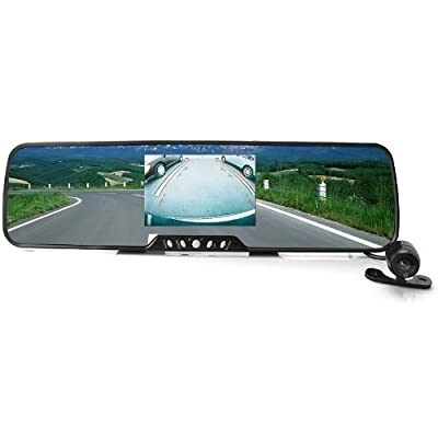 Sourcingbay® Bluetooth Car Rearview Mirror with Wireless Backup Camera + 3.5''tft Screen + Wireless Earphone + 2 Speakers + 2 Mic + Fm