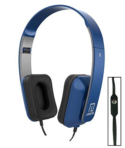 Langston ® Mediacom SmartPad 10.1 HD iPro111 / Mediacom SmartPad i10 3G Tablet Blau Deep Bass Faltbare HD Kopfhörer (iM-8) mit Mikrofon und Fernbedienung