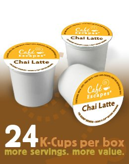 Cafe Escapes Chai Latte 24 K-Cups (Pack Of 4) For Keurig Brewers front-250942