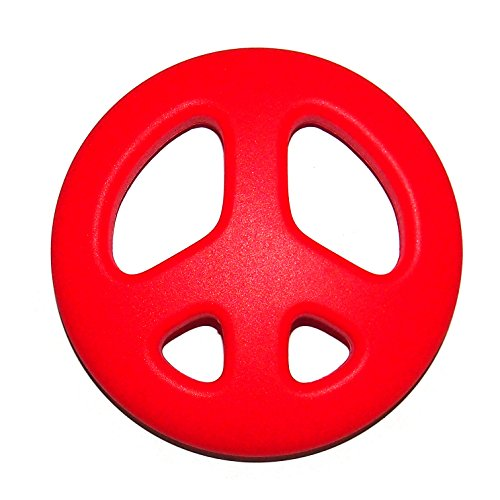 """The Art of CureTM Organic Teething Silicone Red """"Peace Sign"""" Baby BPA Free, All Natural - 1"