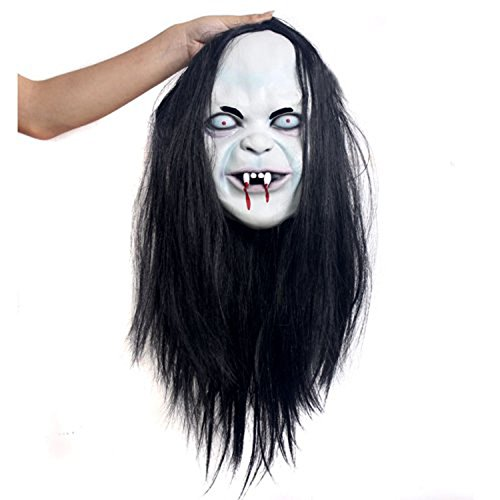 Moxeay® Hot Halloween Toothy Zombie Ghost Mask Scary Emulsion Skin with Hair