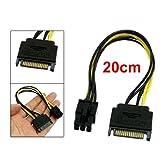 SATA 15ピン オス→ 6ピン PCI-Express PCI-E カード 電源 アダプタケーブル 20センチメートル