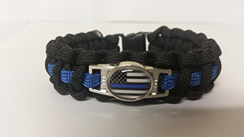 Thin Blue Line Paracord Survival Bracelet with Thin Blue Line American Flag Charm By Bostonred2010 (9) (Thin Blue Line Bracelet compare prices)