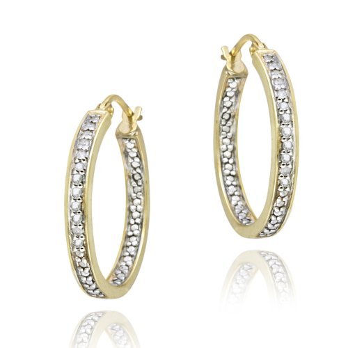 18K Gold over Sterling Silver 1/4ct Diamond Inside-Out Hoop Earrings