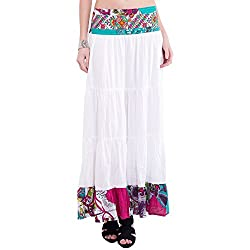 TUNTUK Women's Lisa Skirt White Viscose Skirt